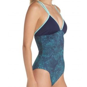 Zella Colorblock One Piece Racer Back Swim 1524
